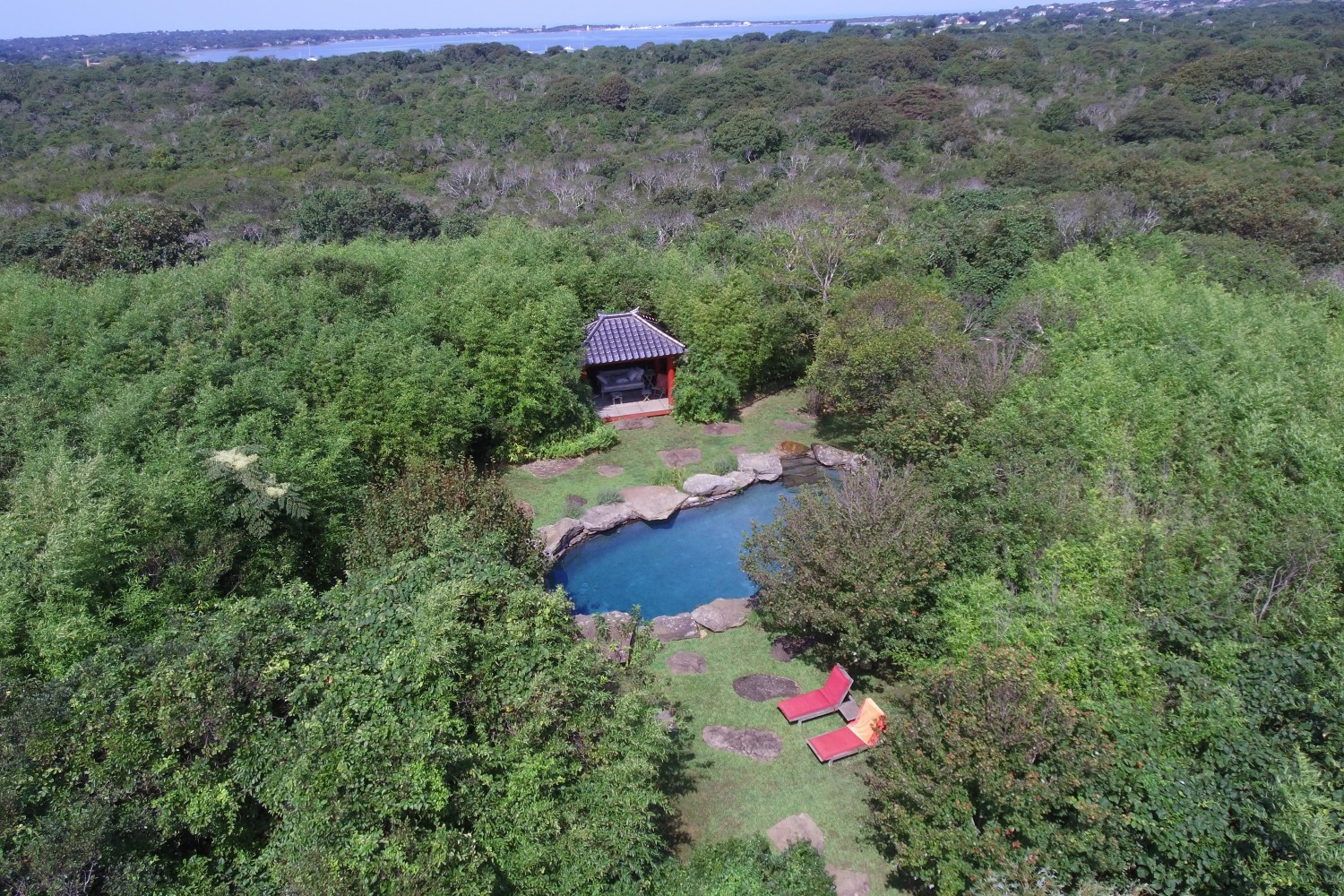 <span>aerial view of pool area</span>